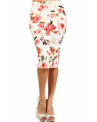 Moa Collection Ivory Floral Skirt