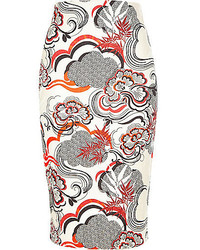 River Island Orange Floral Print Pencil Skirt