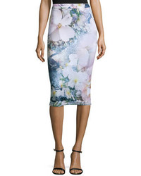 Sinda tile floral print midi pencil skirt navy medium 382099
