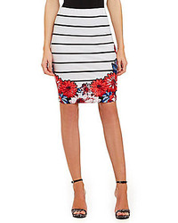 Soulmates Floral Border Striped Pencil Skirt