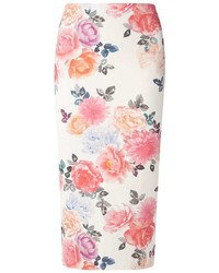 Dorothy Perkins Tall Pink Floral Pencil Skirt