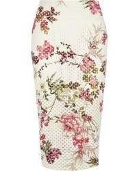 River Island White Floral Laser Cut Midi Pencil Skirt