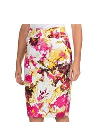 Womyn Floral Pencil Skirt Stretch Cotton Watercolor Floral