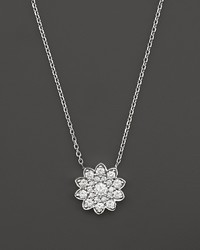 Bloomingdale's Diamond Cluster Flower Pendant Necklace In 14k White Gold 65 Ct Tw