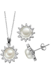 Freshwater Cultured Pearl Cubic Zirconia Sterling Silver Flower Pendant Necklace Button Stud Earring Set