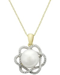 Pearlustre By Imperial Freshwater Cultured Pearl Diamond Accent 10k Gold Flower Pendant Necklace
