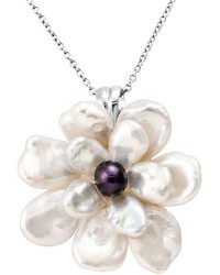 Sterling silver dyed freshwater cultured pearl flower pendant medium 1042127