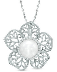 Zales 80mm Cultured Freshwater Pearl And 18 Ct Tw Diamond Flower Pendant In Sterling Silver