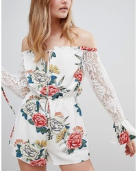 Love & Other Things Bardot Printed Playsuit