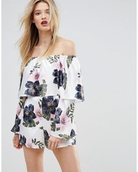 Missguided Floral Bardot Romper