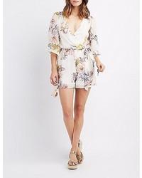 Charlotte Russe Floral Kimono Surplice Romper