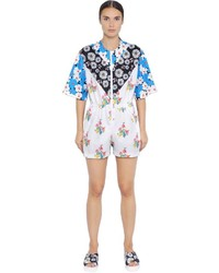 Floral printed patchwork neoprene romper medium 3645571