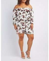 Charlotte Russe Plus Size Floral Off The Shoulder Romper