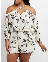 Charlotte Russe Plus Size Floral Strappy Cold Shoulder Romper