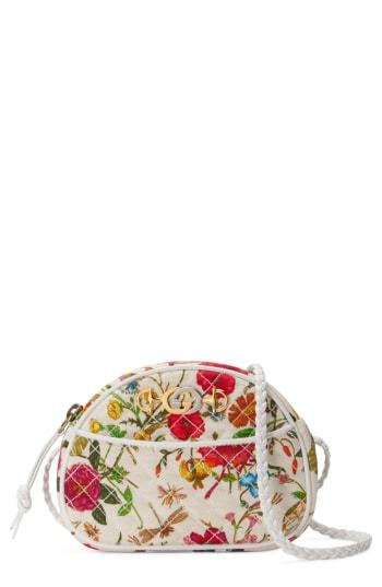 Quilted Floral Print Dome Crossbody Bag