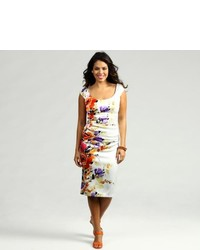 London Times Printed Stretch Satin Dress