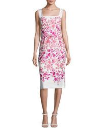 Sleeveless floral belted sheath dress whitepink medium 3674492