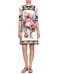 Dolce & Gabbana Floral Vase Charmeuse Shift Dress White