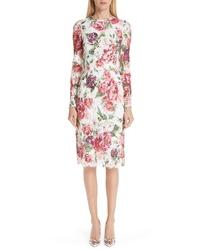 Dolce & Gabbana Peony Print Lace Dress