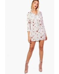 Boohoo Eda Stripe Floral Drawstring Waist Shirt Dress