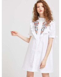 Romwe Embroidered Yoke Frilled Tie Sleeve Shirt Dress