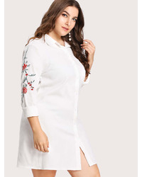 Romwe Embroidery Detail Shirt Dress