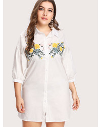 Romwe Embroidery Front Shirt Dress
