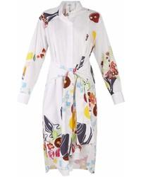 Loewe Floral And Fruit Print Tie Waist Cotton Shirtdress