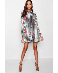 Boohoo Tyler Stripe Floral Print Shirt Dress
