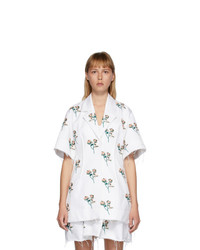 Marina Moscone White Embroidered Basque Shirt Dress