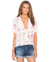 Equipment Short Sleeve Slim Signature Floral Print Blouse