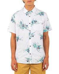 Hurley Del Mar Regular Fit Tropical Print Organic Cotton Short Sleeve Button Up Shirt
