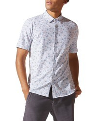 Good Man Brand Flex Pro Slim Fit Print Short Sleeve Button Up Shirt
