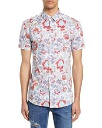 Topman Floral Print Slim Fit Shirt