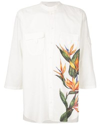 Dolce & Gabbana Mandarin Collar Shirt With Bird Of Paradise Print