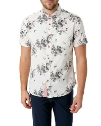 7 Diamonds Maze Of Destiny Slim Fit Floral Short Sleeve Button Up Shirt