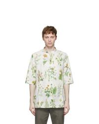 Salvatore Ferragamo Off White Herbal Print Short Sleeve Shirt