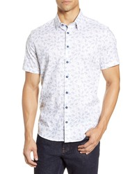 Stone Rose Slim Fit Floral Short Sleeve Button Up Shirt