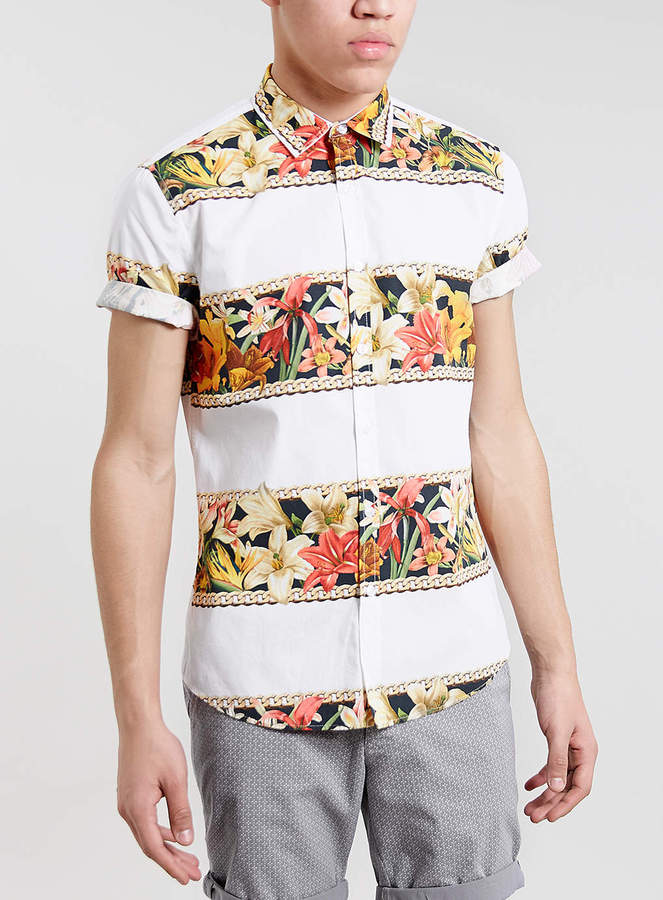 Topman White Floral Print Short Sleeve Shirt | Where to buy & how ...