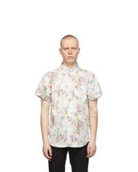 Naked and Famous Denim White Flower Painting Easy Short Sleeve Shirt