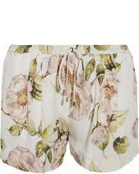 Haute Hippie Floral Print Silk Chiffon Shorts