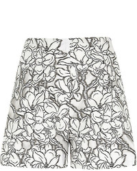 River Island White Floral Print Lace Smart Shorts