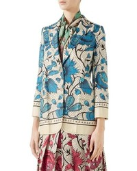 Gucci Watercolor Floral Print Silk Jacket