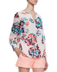 Shoshanna Long Sleeve Floral Print Blouse Ivorymulticolor