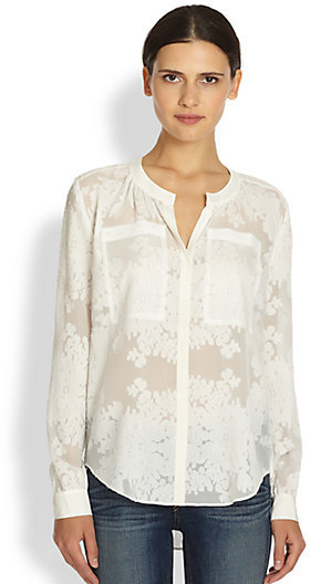 4a0a9838b4801b ... Long Sleeve Blouses Rebecca Taylor Silk Cotton Semi Sheer Floral  Patterned Shirt