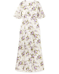 Les Rêveries Floral Print Silk Charmeuse Maxi Dress