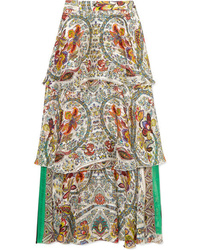 Etro Tiered Printed Silk Jacquard Maxi Skirt