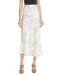 Equipment Iva Floral Silk Midi Skirt