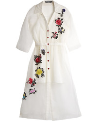 House of Holland Floral Embroidered Silk Shirtdress