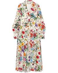 Gucci Pleated Floral Print Silk De Chine Dress